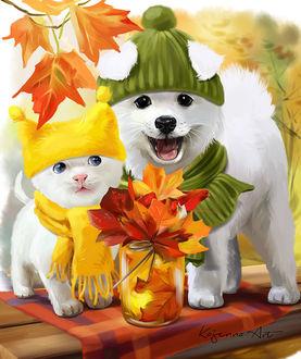 Фото Котенок и щенок в шапочках и шарфиках стоят возле баночки с осенними листьями, by Kajenna