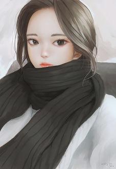Фото Портрет девушки с серыми волосами в шарфе, by Geo Siador