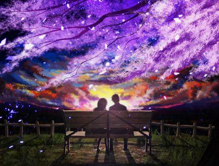 Фото Парень и девушка сидят на скамейке под цветущей сакурой на фоне заката, by 真衣