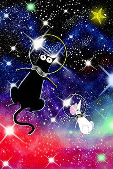 Фото Кот и мышь в скафандрах летают в космосе, by Andrew Hitchen