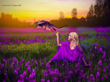 Фото Девушка сидящая на цветочной поляне, отпускает в полет дракона, by Малышев Владимир