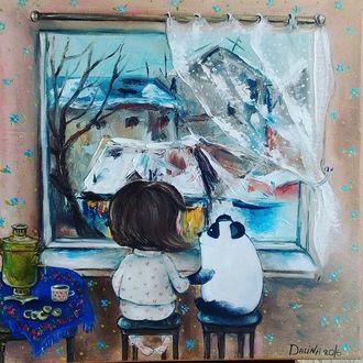 Фото Девочка в пижаме с сердечками и белая панда сидят на скамейках у открытого окна и любуются прекрасным пейзажем, автор Алина Далинина