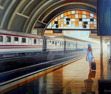 Фото Девушка с дорожной сумкой на вокзале, by gyurka