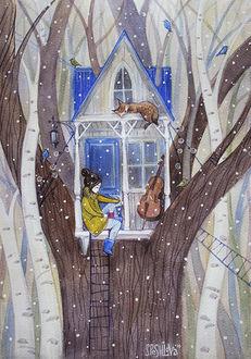 Фото Домик на дереве, на подоконнике сидит девочка, стоит струнный инструмент и лежит кошка, с неба падает снег, by Анна Спешилова