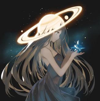 Фото Девушка-планета держит в руках звезду, by ronopu