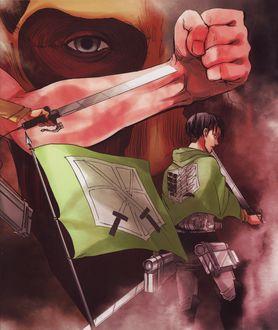 Фото Levi Rivaille / Леви Райвель с клинками из аниме Shingeki no Kyojin / Атака Титанов, art by Najime Isayama