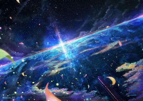 Фото Поезд едет по воде, в которой отражается ночное небо и полумесяц, by ナノン