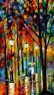 Фото Девушка с зонтом под дождем, by Leonid Afremov