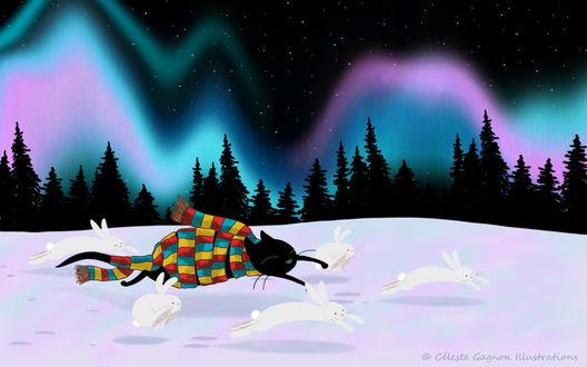 Фото Кот в полосатом шарфе и зайцы бегут по снегу под северным сиянием, by Celeste Gagnon