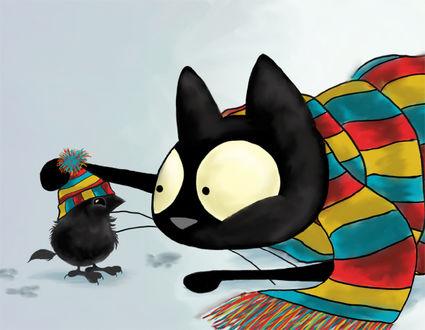 Фото Кот в полосатом шарфе поправляет полосатую шапочку на птичке, by Celeste Gagnon