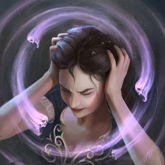 Фото Девушка схватилась руками за голову, пытаясь защититься от злых духов, кружащих вокруг ее головы, by Leesha Hannigan