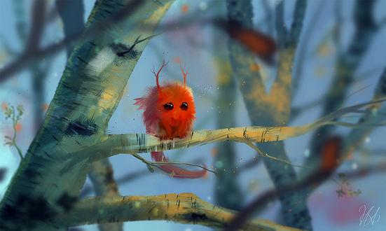 Фото Сказочный пушистик с веточками-рожками сидит на дереве, by mohn-blume
