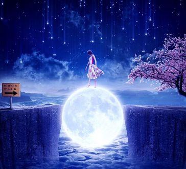 Фото Девушка стоит на луне между обрывами, by EsotericIllusion