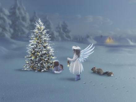 Фото Девочка с крылышками ангела стоит перед белкой у новогодней елки, by mrscats