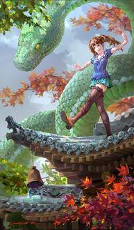 Фото Девушка и зеленый змей, by Shengyi Sun