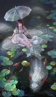 Фото Девушка с зонтом сидит на белой змее, фотограф Shengyi Sun