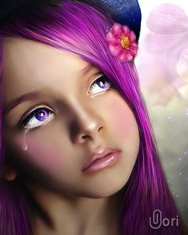 Фото Девочка с фиолетовыми волосами и со слезой на щеке, by GORI89