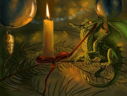 Фото Дракончик сидит на елке у свечи, by x-Celebril-x