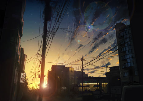 Фото Городская улица в лучах закатного солнца, by 白夜ReKi