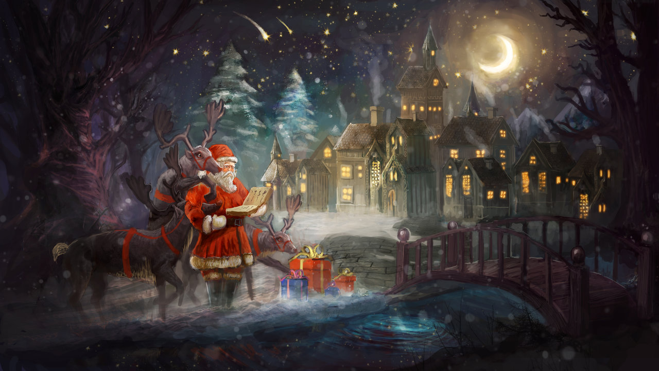 Фото Санта Клаус с оленями и подарками стоит около домов возле маленькой речки с мостиком и читает книгу имен в Рождественскую ночь, by chevsy