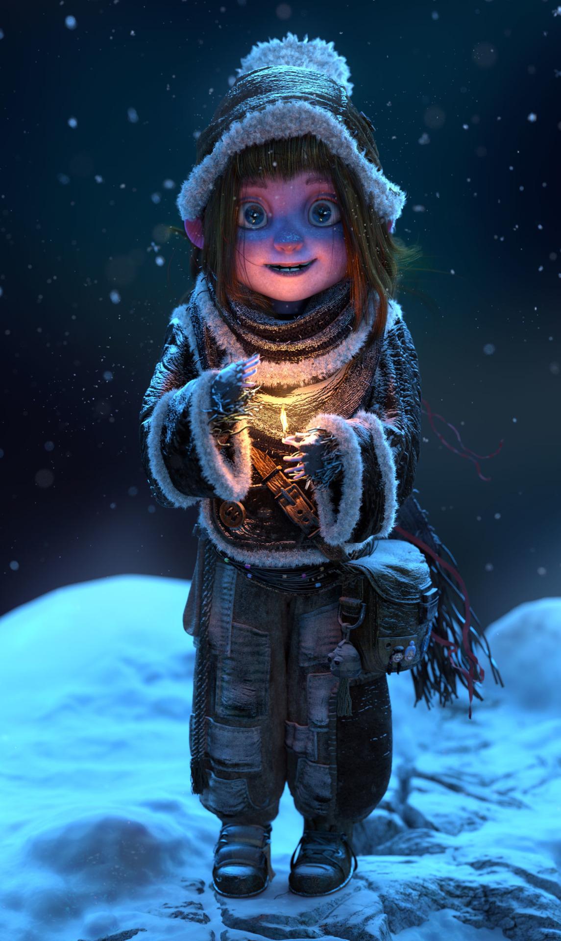 Фото Девочка с огнем в руке стоит на снегу, by Patrick Evrard