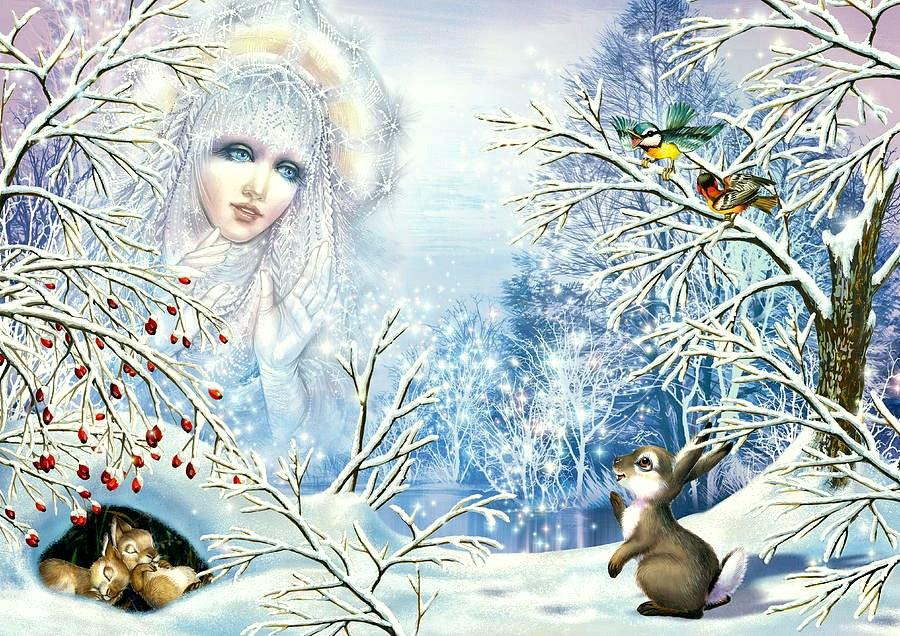Открытка госпожа зима, анимации красивые