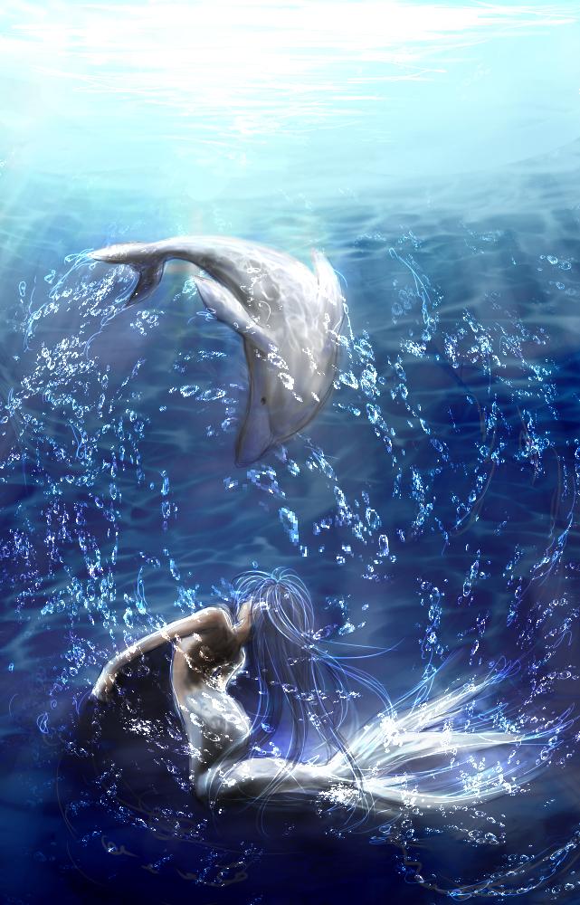 Фото Дельфин и русалка танцуют под водой, by saya