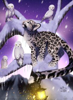 Фото Белый леопард с фонариком на хвосте стоит на дереве среди сов сидящих на ветках и смотрит вверх, by Yechii