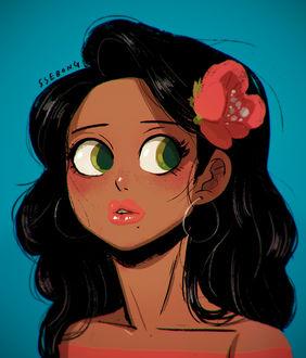 Фото Загорелая девушка брюнетка с большими зелеными глазами, с цветком в волосах, by ssebong
