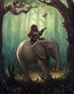 Фото В сказочном лесу обезьяна с музыкальным инструментом сидит на слоне