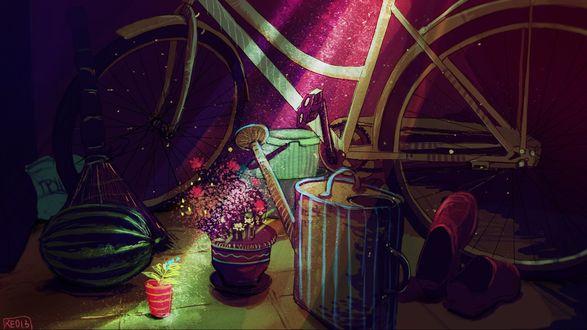 Фото Велосипед, лейка, красные тапочки, by RE013