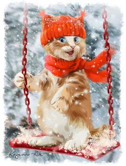 Фото Веселый рыжий котенок в шапке и шарфе на качели под падающим снегом, by Kajenna
