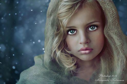 Фото Грустная девочка в капюшоне, теплый оттенок, коллаж, ретушь, by Margarita Kobzareva
