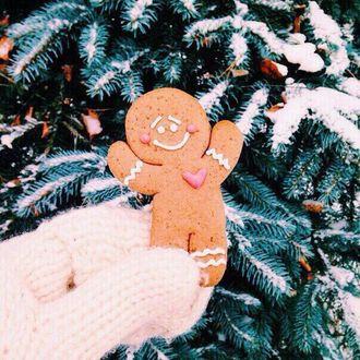Фото Рука в вязанных рукавицах держит прянечного человечка на фоне заснеженной елки