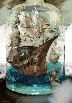 Фото Девочка стоит около стеклянной бутылки, внутри которой корабль, на палубе которого маленькие демоны, by ポ~ン(出水ぽすか)
