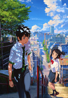 Фото Miyamizu Mitsuha / Миямизу Митсуха и Tachibana Taki / Тачибана Таки встретились на городской улице, из аниме Kimi no Na wa / Твое имя, art by Makoto Shinkai