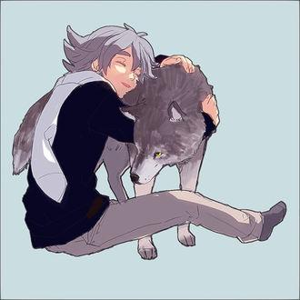 Фото Мальчик обнимает волка