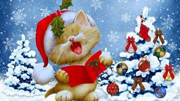 Фото Рыжий котенок в шапке Санта Клауса под новогодней елочкой поет рождественские песенки