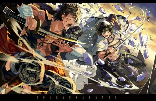 Фото Поединок между самураями из игры Touken Ranbu / Танец Мечей