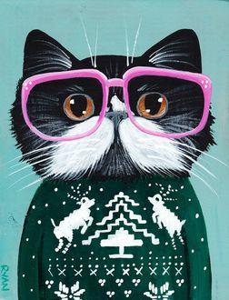 Фото Черный кот с белыми усами, в очках с розовой оправой и в зеленом свитере с белыми елочкой, оленями, цветами, снежинками, by RYAN