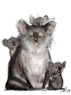 Фото Грустная коала со своими веселыми детенышами, художник Wiebke Rauers