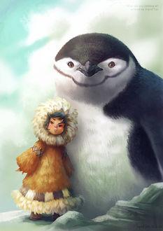 Фото Девочка эскимоска стоит на льдине возле большого пингвина, by IngridTan
