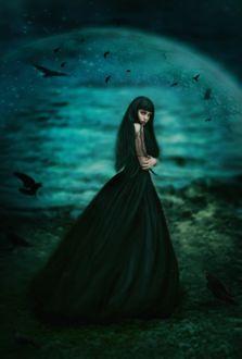 Фото Девушка готика на фоне луны в окружении воронов Ретушь