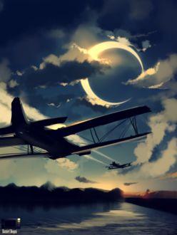 Фото Самолеты в небе с луной, by danielbogni