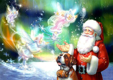 Фото Santa Claus / Санта Клаус с собакой в окружении зимних фей-эльфинок, на фоне северного сияния, by Zorina Baldescu / Зорина Болдеску