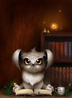 Фото Белый щенок в пенсне сидит над раскрытой книгой, by Милашенко Анастасия (burk)