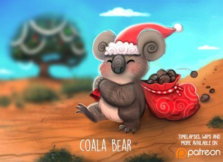 Фото Коала в новогоднем колпаке с мешком подарков, by Cryptid-Creations (Coala Bear)
