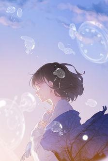 Фото Плачущая девушка, с укрытыми шалью, на которой видны деревья на фоне ночного неба с луной, плечами, стоит на фоне неба в окружении прозрачных карманных часов, by ajimita