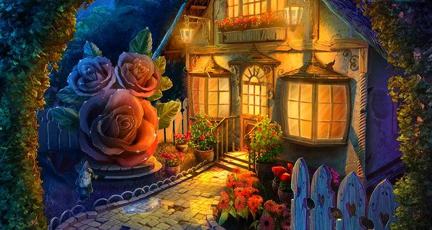 Фото Ярко освещенный сказочный домик с мощеным двориком, уставленным горшочками с диковинными цветами, в обрамлении цветочной арки