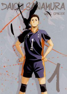 Фото Капитан команды Даичи Савамура / Daichi Sawamura из аниме Haikyuu! / Волейбол, wing spiker, art by Haruichi Fukudate